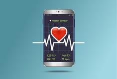 Контролировать состояние cardiogram на современном smartphone иллюстрация вектора