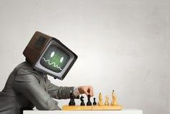 Контролируйте возглавленного бизнесмена Мультимедиа стоковые фотографии rf