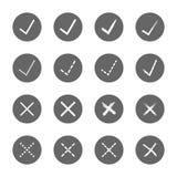 Контрольная пометка правая и неправильные установленные значки Стоковое Изображение RF