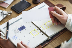 Контрольный списоок назначения планируя личную концепцию организатора стоковые фотографии rf