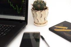 Контроль и анализ финансовой ситуации в валютном рынке Стоковое фото RF