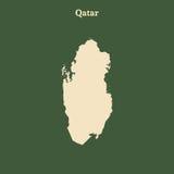 Контурная карта Катара иллюстрация Стоковое Изображение RF