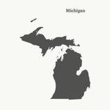 Контурная карта Мичигана иллюстрация Стоковые Фотографии RF