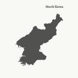 Контурная карта Северной Кореи иллюстрация Стоковые Фото
