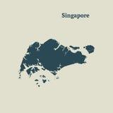 Контурная карта Сингапура иллюстрация Стоковое Изображение RF