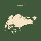 Контурная карта Сингапура иллюстрация Стоковые Изображения