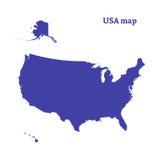 Контурная карта США Изолированная иллюстрация вектора Стоковые Изображения RF