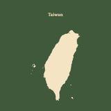 Контурная карта Тайваня изолированная иллюстрация руки кнопки нажимающ женщину старта s Стоковые Изображения RF