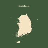 Контурная карта Южной Кореи иллюстрация Стоковые Фотографии RF
