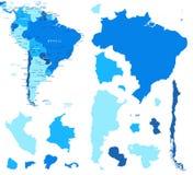 Контуры карты и страны Южной Америки - иллюстрация Стоковые Фото
