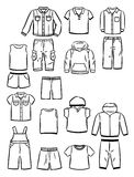 Контуры одежды для мальчиков Стоковые Изображения RF