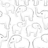Контуры слонов, безшовные бесплатная иллюстрация