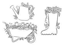 Контуры Grunge моча чонсервной банкы, ботинка и кургана с листьями и цветками бесплатная иллюстрация