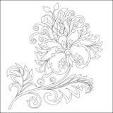 Контур вектора цветка фантазии с орнаментами стоковое фото
