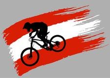 Контур велосипедиста на флаге Австрии стоковое изображение