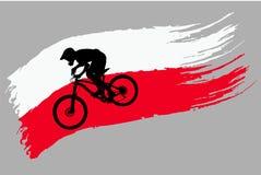 Контур велосипедиста на флаге Польши стоковое изображение rf