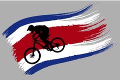 Контур велосипедиста на флаге Таиланда стоковое изображение