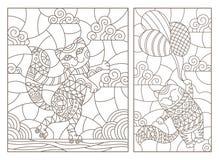Контур установил с иллюстрациями витражей с котами шаржа смешными, летанием кота на воздушном шаре и котом на ролике sk иллюстрация вектора