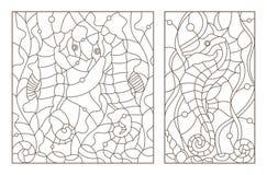 Контур установил с иллюстрациями цветного стекла с лошадями моря на предпосылке морской водоросли, темного плана на белом телефон Стоковая Фотография RF