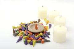 Конусы ладана с свечой. Стоковые Фотографии RF