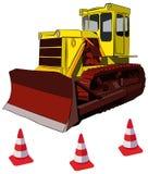 Конусы бульдозера и дороги, иллюстрация вектора Стоковые Фотографии RF