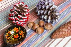 Конусы, жолуди, ложка украинского стиля деревянная на скатерти, кухне eco Стоковая Фотография
