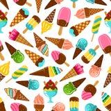 Конусы мороженого, popsicles и картина sundae иллюстрация штока