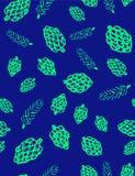 Конусы сосны и ветви сосны на картине вектора синей предпосылки безшовной Стоковое Фото