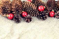 Конусы сосны и спруса и красные шарики рождества Decorat рождества Стоковая Фотография
