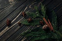 Конусы циннамона и сосны анисовки на зеленых ветвях ели на деревенском wo Стоковые Фотографии RF