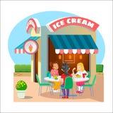 конусы шоколада предпосылки cream мороженое льда над белизной ванили клубники фисташки Кафе улицы иллюстрация вектора