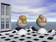 конусы шоколада предпосылки cream мороженое льда над белизной ванили клубники фисташки Стоковое фото RF