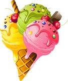 конусы шоколада предпосылки cream мороженое льда над белизной ванили клубники фисташки иллюстрация штока