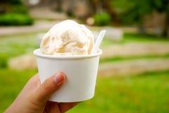конусы шоколада предпосылки cream мороженое льда над белизной ванили клубники фисташки Ваниль и мороженое молокозавода в руке чаш Стоковое фото RF