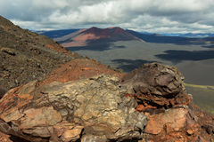 Конус гари извержения 1975 борозды Tolbachik северного прорыва большого Стоковые Фотографии RF