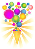 Конус мороженного цветастый Стоковые Фото