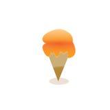 Конус мороженого вектора с оранжевой сливк Стоковые Фото