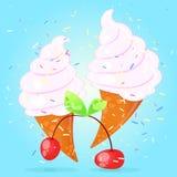 Конус мороженого вишни Стоковое Изображение RF