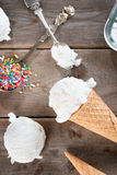 Конус мороженого молока взгляд сверху Стоковые Фотографии RF