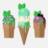 Конус мороженого мяты Чеканьте ветроуловитель мороженого в конусе с ванилью, шоколадом и ежевикой Конусы мороженого мяты, вектор Стоковые Изображения RF