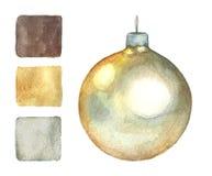 Конус рождества на белой предпосылке в акварели Стоковое Фото