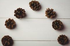 Конус сосны на деревянном столе Стоковая Фотография