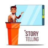 Конференция, плакат вектора мультфильма речи деловой встречи бесплатная иллюстрация