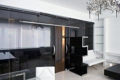 конференц-зал мебели стеклянный кожаный Стоковое Изображение RF
