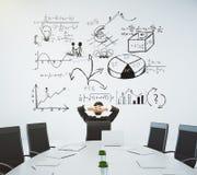 Конференц-зал с таблицей и стульями и дело diagram на стоковые изображения