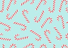 Конфета веселого рождества может безшовная картина на голубой предпосылке вектор иллюстрация вектора