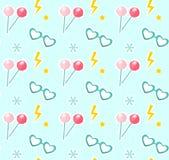 Конфета на ручках, стеклах в форме картины сердца безшовной Модная современная бесконечная предпосылка, повторяя иллюстрация вектора