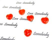 конфета сердца ‡ ¹ à с текстом на белой предпосылке Стоковая Фотография