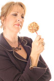 конфета яблока смотря женщину Стоковое фото RF