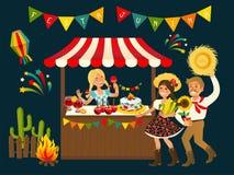 Конфета Яблока бразильянина Festa Junina шатра Стоковые Изображения RF